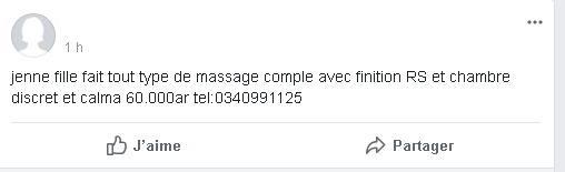 Un exemple d'annonce d'escort girl et de masseuses à Madagascar dans les groupes Facebook